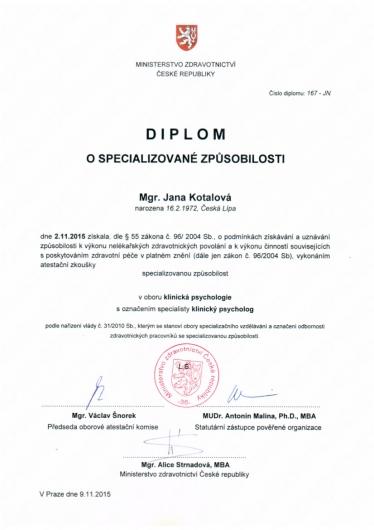 Specializace - Klinický psycholog