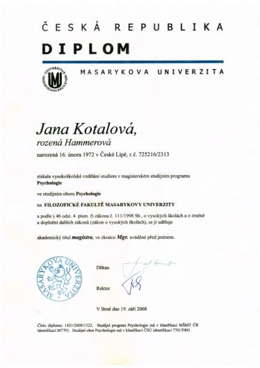 Mgr. - Psychologie diplom
