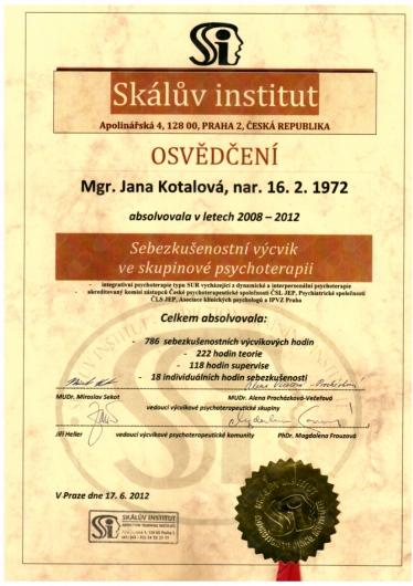 certifikát - Sebezkušenostní výcvik ve skupinové psychoterapii