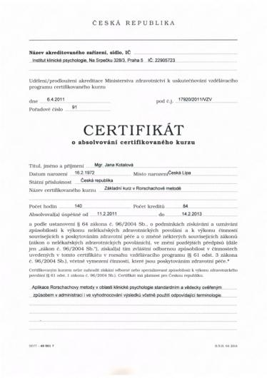 Certifikát - Základní kurz v Rorschachově metodě